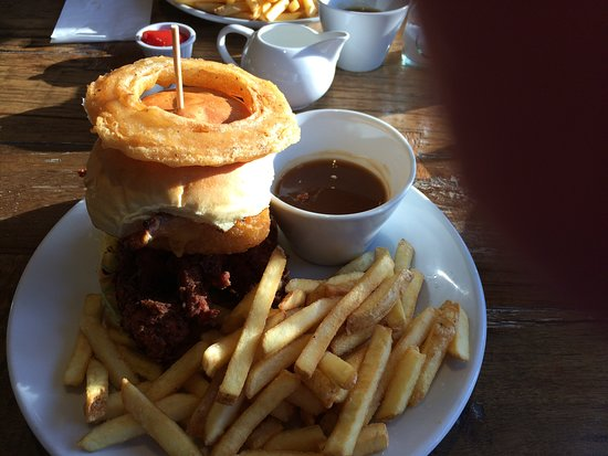 Three Piggies: Chicken burger with onion ring chips and dipping gravy.