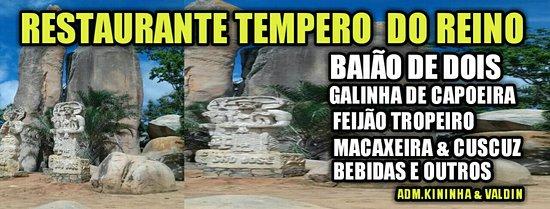 Sao Jose Do Belmonte, PE: Folder do Restaurante que fica ao lado da Pedra do Reino.