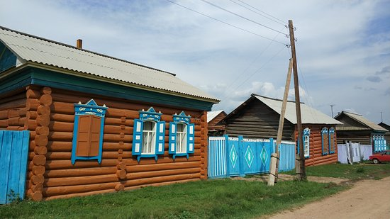 Traditional Russian wooden houses in Old Believers village.