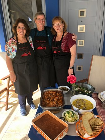 Cooking Classes in Nafplion: Ivy and us with our delicious culinary creations.  Yassas!
