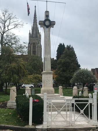 Marlow War Memorial with All Saints behind