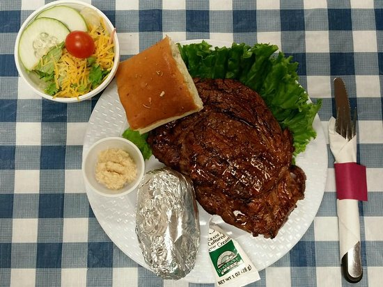 Greensburg, Канзас: Every Thursday night 12 ounce RIBEYE served with Baked Potato, Green Salad Dinner Roll Coffee or Tea $12.99 you won't be disappointed