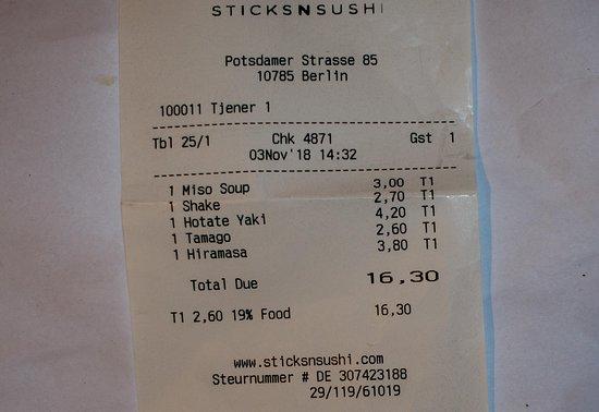 Eine überteuerte Rechnung für Sushi