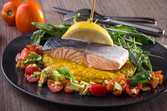 Poached salmon with pumpkin puree
