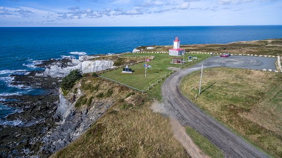 Mavillette, Канада: Aerial view of Cape Saint Mary Lighthouse Park and coastal cliffs