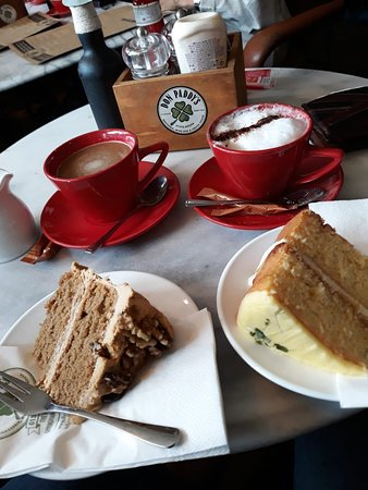 Don Paddys: Coffee, Cappuccino, Lemon Drizzle Cake, Coffee & Walnut Cake.