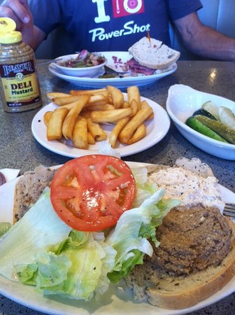 Chopped liver & chicken salad, french fries, green pickles and a lean corn beef sandwich.. heaven!