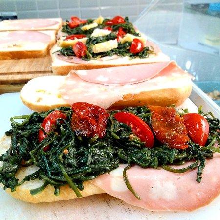 Your Toast: Ciabatta con mortadella Fiorucci...cicoria ripassata... pomodori secchi e datterino di Sorrento!!!!