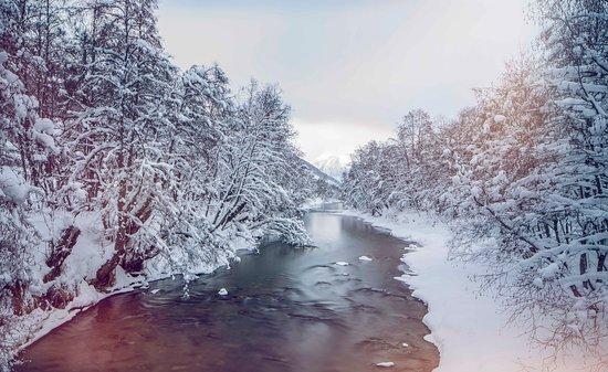 Valais, Suisse : Paysage hivernal