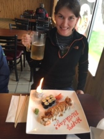 Umi Sushi: The Birthday Girl ordered Spider Roll and Avocado Roll