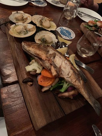 A beautiful whole sea bream, excellently prepared.