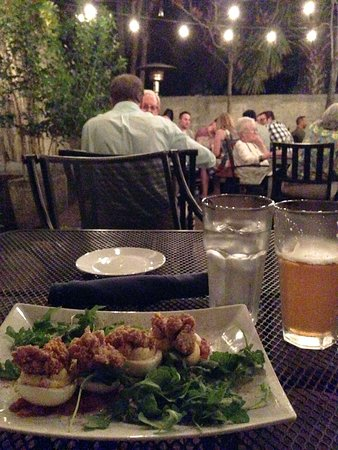 Catch 27: Patio dining w/ deviled eggs (on a bed of arugula & tomato chutney topped with fried oysters)  & cider.