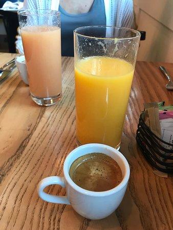 Fresh squeezed orange and grapefruit juice and espresso