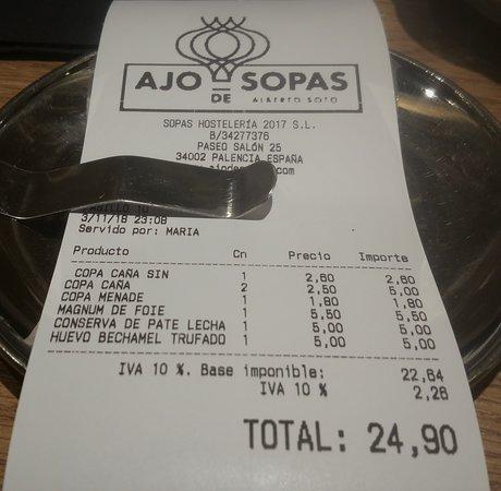 La Cuenta Picture Of Ajo De Sopas Palencia Tripadvisor