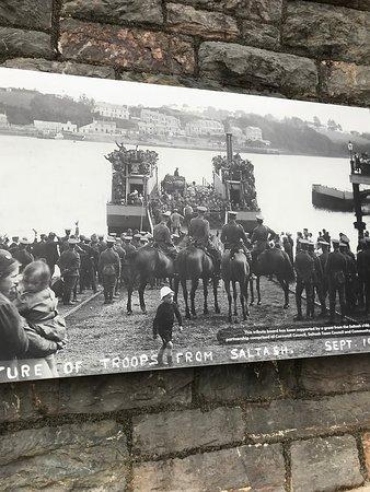 Saltash Waterside picture of departure of WWI soldiers.