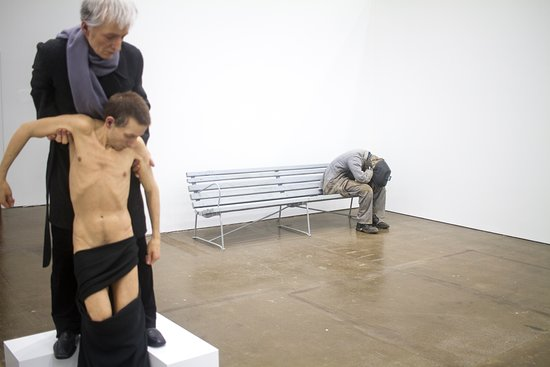 """Peekskill, NY: Pictured: Sam Jinks, """"Untitled (Standing Pieta),"""" 2014 Pawel Althamer, """"The Power of Now,"""" 2016"""