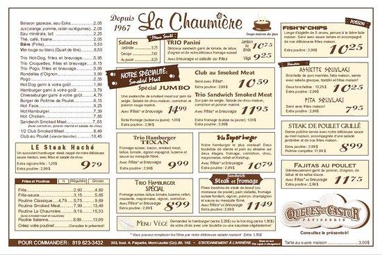 Restaurant La Chaumière : Menu