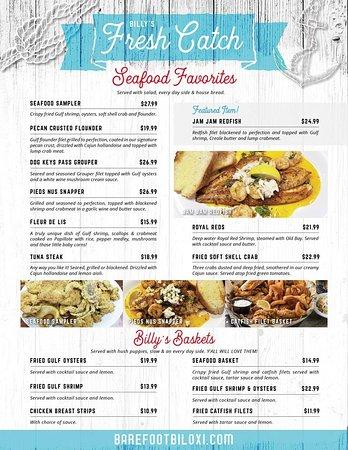 Barefoot Billy S Grill Bar Biloxi Menu Prices Restaurant
