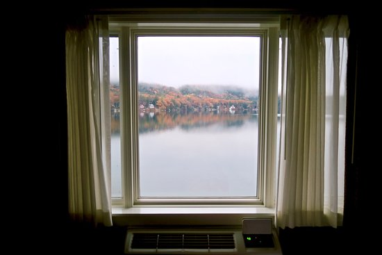 Fairlee, VT: Morning view from guest room. Fall color brightened gray day!