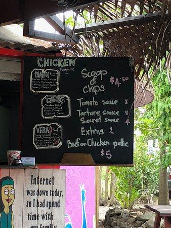 Vili's Burger Joint: Small menu board