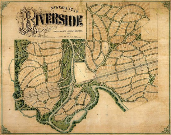 Frederick Law Olmsted's 1869 Plan of Riverside, Illinois