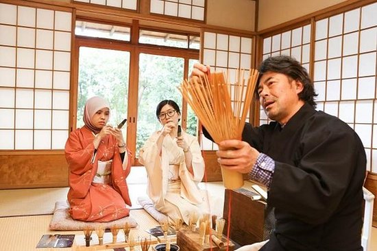 茶筅(竹製のお茶泡だて器)づくりと日本庭園