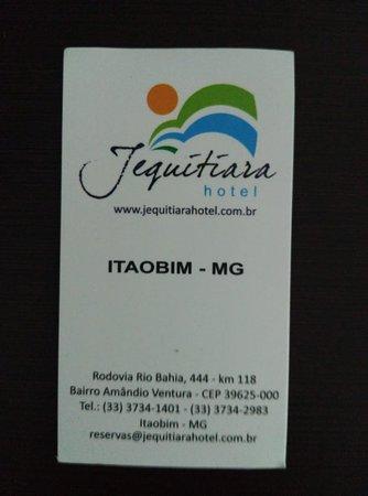 Itaobim, MG: cartão com dados do hotel