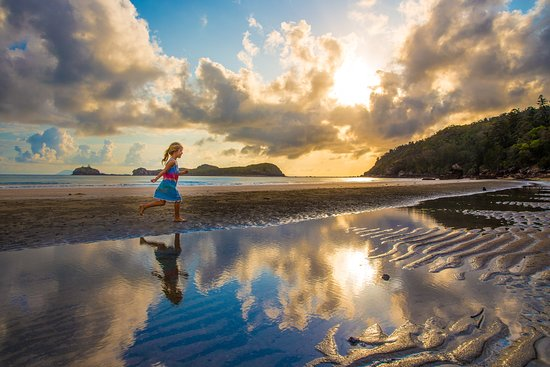 We woke up early to see the Kangaroos and Wallabies on the beach ~ They were there doing their thing in front of a huge bunch of people 🐰😌... but this little bouncing babe running wild and free through the water took my camera's fancy instead 👯♀️😉✌.  Cape Hillsborough, Queensland, Australia. #theblondenomads #capehillsborough