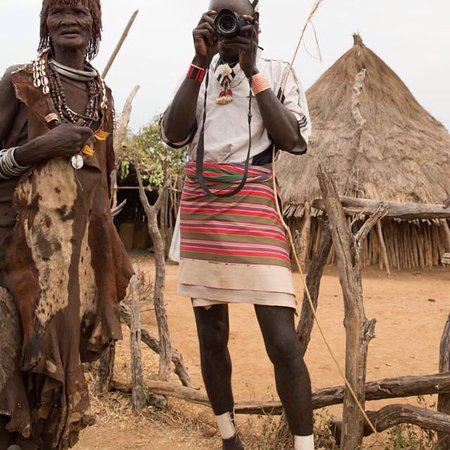 Hammer tribe man practice to be a photographer #Hammer village