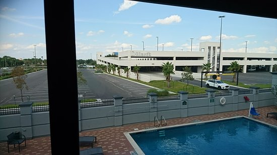View of the pool and mall from the room