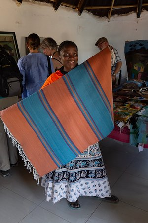 Oodi, Botswana: The artist with her work, which I bought for 45$US