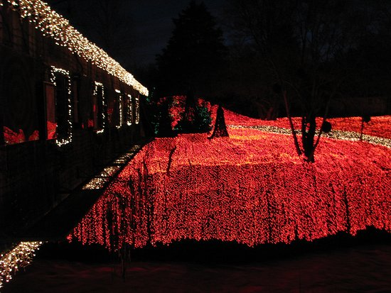 Clifton Mill Christmas Lights.View Of The Outside Of Clifton Mill Restaurant And Gift Shop