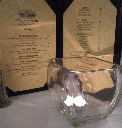 Holden, ME: The Lucerne Inn dessert menu, in the candlelight!