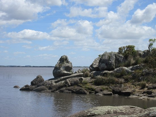 Rock formation by the lake