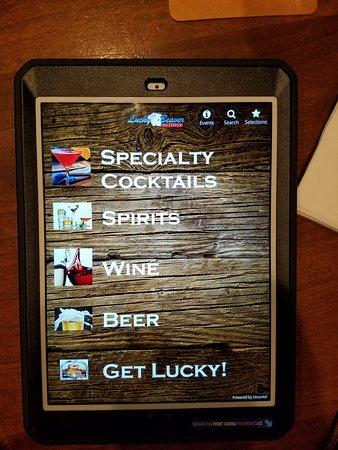 Drink menu is on a tablet.