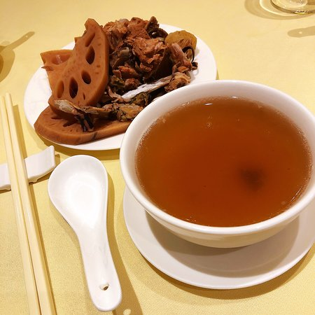 Double boiled lotus and pork soup