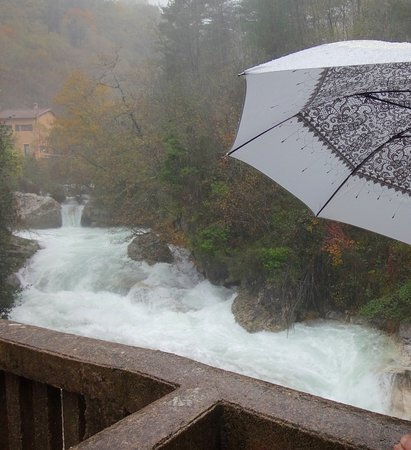 Alpes Maritimes, France : Thundering water at Cascades du Saut du Loup during heavy rainfall, Nov 2018 - bring an umbrella!