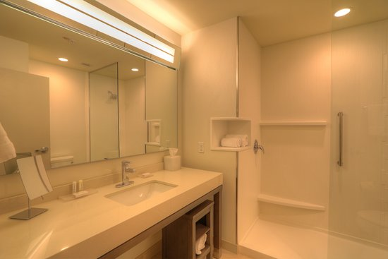 Guest bathroom with glass shower.