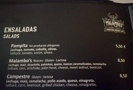 Restaurante Malambo's: Carta