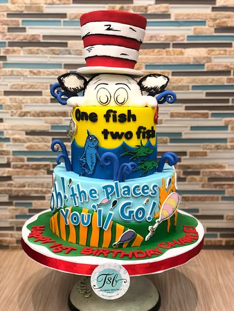 Incredible 2 Tier Dr Seuss Birthday Cake With Fondant Cat In The Hat Topper Personalised Birthday Cards Veneteletsinfo