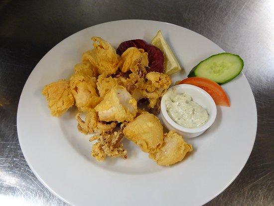 Fresh crispy Calamari starter platter.
