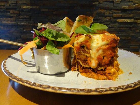 Lasagne with Chiabatta Garlic Bread