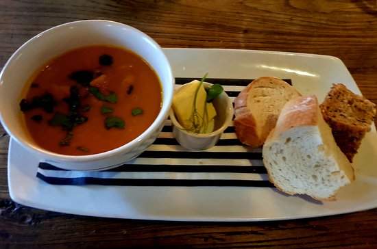The Rambler's Rest: Carrot & corriander soup with rustic bread.(V)