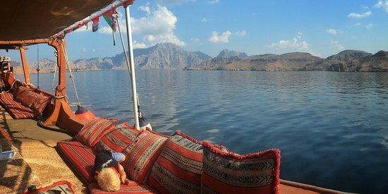 Musandam Governorate, Oman: Sailing into the waters near Kumzar, Musandam Oman