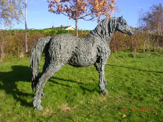 Sculpture of a wild mountain pony outside the Welsh Government Offices (Llandudno Junction)