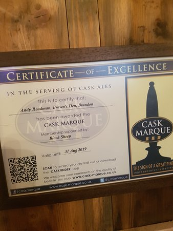 Brandon, UK: We are Cask Marque accredited with a score of 100%
