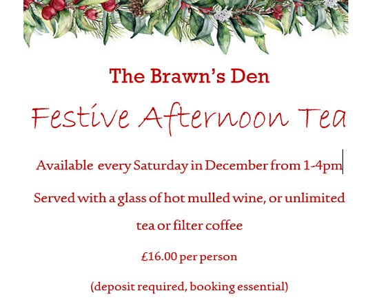 Brandon, UK: Festive afternoon tea available every Saturday in December