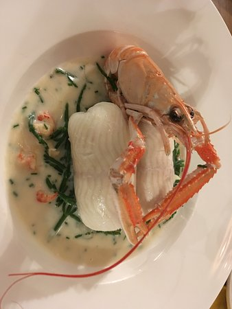 Mark, UK: Sole stuffed with crayfish tails on a samphire cream sauce. Delicious!