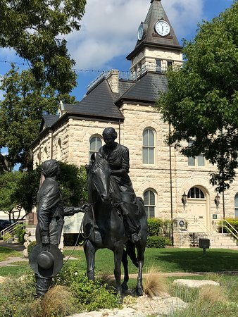 Historic courthouse and statutes