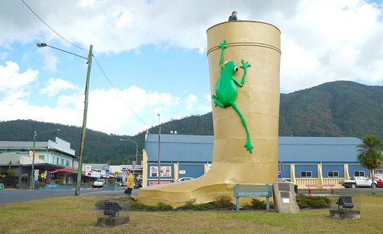 Tully, Australia: A true tourist attraction the Lions and Rotary Club built the giant boot to indicate the record rainfall received in 1950 - the height of the boot!